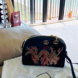 GUCCI Blue Small Linea Dragoni Embroidered